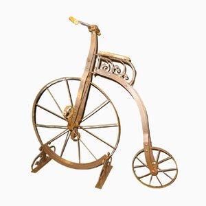 Antique English Wrought Iron, Wood, and Leather Childrens Bicycle