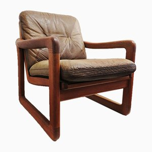 Danish Teak and Leather Lounge Chair from EMC Møbler, 1970s