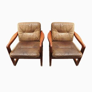 Danish Teak and Leather Lounge Chairs from EMC Møbler, 1970s, Set of 2