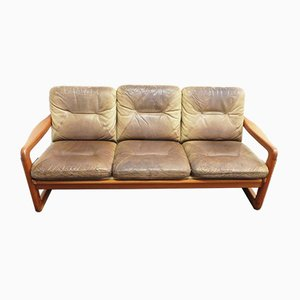 Danish Teak and Leather 3-Seater Sofa from EMC Møbler, 1970s