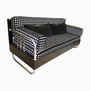 Bauhaus Chromed Steel-Tubes and Black Lacquered Wood Sofa, Germany, 1930s