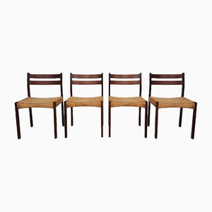 Mid-Century Danish Paper Cord Dining Chairs by Mogens Kold, Set of 4
