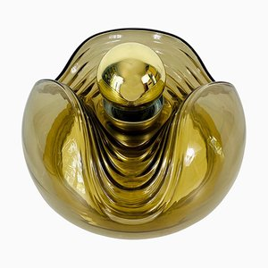 Amber Glass Flush Mount by Koch & Lowy for Peill & Putzler, 1960s