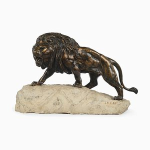 Large Lion Sculpture in Patinated Bronze by Lecas