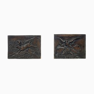 Antique Low Reliefs by Antoine-Louis Barye, Set of 2