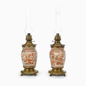 Antique Satsuma Porcelain Oil Lamps, Set of 2