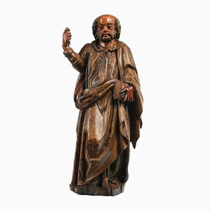 17th Century Statue of Saint Peter in Polychrome Wood