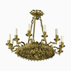 Restoration Style Chandelier in Gilt Metal and Bronze, 1880s