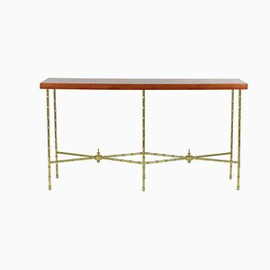 Console Table in Lacquer and Gilt Bronze by André Dambrun & Bernard Dunand, 1950s