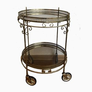 Neoclassical Style Round Brass Trolley with Glass Trays, 1960s
