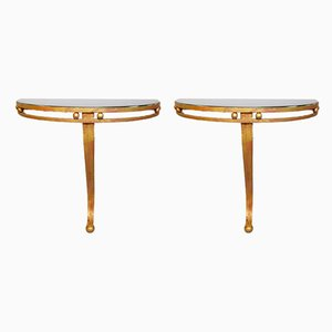Wrought Iron & Gold and Black Glass Top Half-Moon Wall Consoles, 1970s, Set of 2