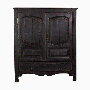 19th Century French Dark Grey Painted Cupboard