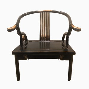 Chinese Lacquered Low Chairs, Set of 2