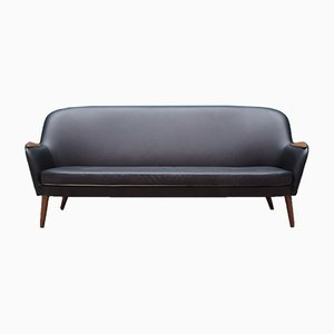 Vintage Danish Black Leather Sofa, 1970s