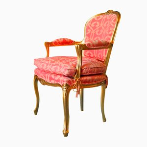 Vintage Louis XV Style Gilt Open Armchairs, 1980s, Set of 2