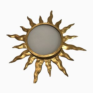 Vintage Brass and Opaline Glass Sunburst Sconce, 1950s