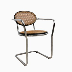 Cubical Chrome Frame and Mesh Cane Side Chair, 1970s