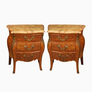 French Inlaid Nightstands with Marble Top, 1960s, Set of 2