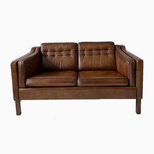 Vintage Danish 2-Seater Leather Sofa