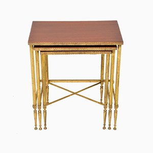 Vintage Brass & Mahogany Nesting Tables, 1950s