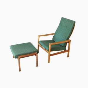 Mid-Century Danish Oak Easy Chair & Stool from Wilkhahn, 1960s, Set of 2