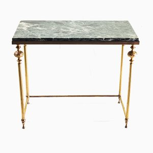 Italian Green, Marble Top & Brass Side Table, 1970s