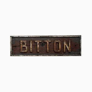 Antique Victorian Bitton Railway Station Sign, 1860s