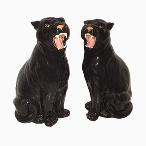 Italian Ceramic Panthers, 1970s, Set of 2