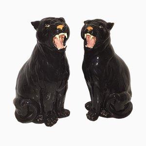 Italienische Keramik Panther, 1970er, 2er Set