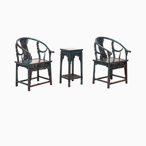 Antique Chinese Blue Armchairs with Tea Table, Set of 3
