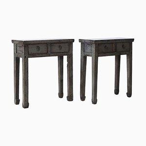 Antique Gray Side Tables with 2 Drawers, Set of 2
