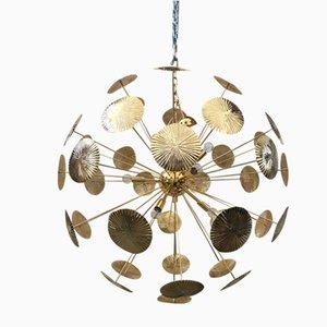 Goldfarbener 2-Sputnik Kronleuchter von Italian Light Design
