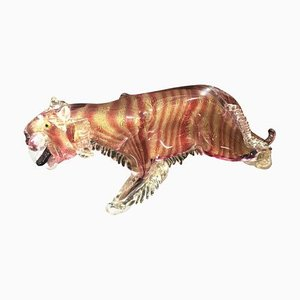 Mid-Century Murano Glass Prehistoric Tiger Sculpture from Barovier & Toso, 1960s