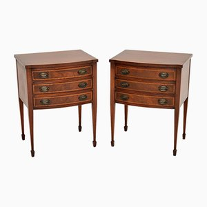 Inlaid Mahogany Bedside or Side Tables, 1920s, Set of 2