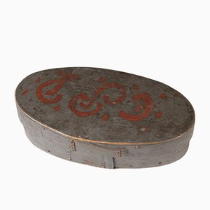 Antique Swedish Folk Art Bentwood Pine Box