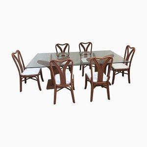 Esszimmerstühle & Tisch Set von Mariani & Purini für Vivai del Sud, 1970er, Set of 7