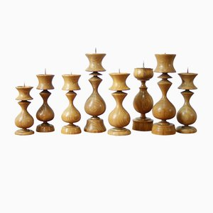 Mid-Century Wooden Candleholders, Set of 8
