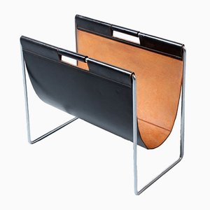 Black and Natural Leather Magazine Rack from Brabantia, 1960s