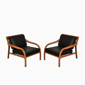 Italian Leather and Wood Armchairs, 1960s, Set of 2
