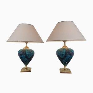 Französische Keramik Stehlampen von Le Dauphin, 1970er, 2er Set