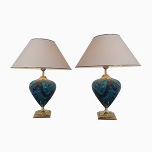 French Ceramic Floor Lamps from Le Dauphin, 1970s, Set of 2