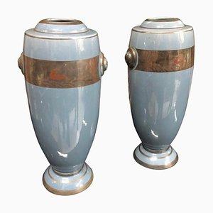 Art Deco Italian Ceramic Vases, 1930s, Set of 2