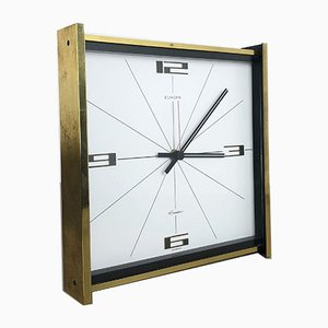 Vintage Hollywood Regency German Brass Table Clock from Europa Junghans, 1960s