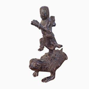 Antique Bronze Liu Hai on Chan Chu Sculpture