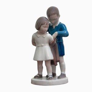 Vintage Girl with Boy Figurine von Bing & Grondahl