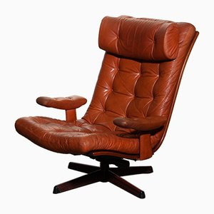 Cognac Leather Swivel Lounge Chairs from Göte Möbler, 1960s, Set of 2