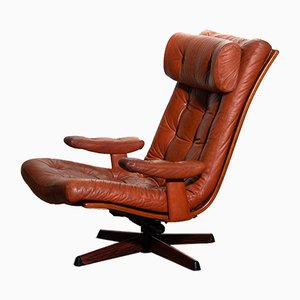 Cognac Leather Swivel Lounge Chair from Göte Möbler, 1960s