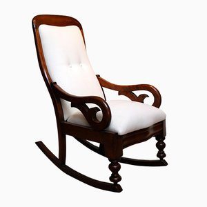 Victorian Mahogany Upholstered Rocking Chair