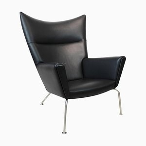 Model CH445 Wing Chair in Black Elegance Leather by Hans J. Wegner for Carl Hansen & Søn, 1980s