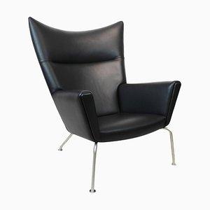 Model CH445 Wing Chair in Black Elegance Leather by Hans J. Wegner for Carl Hansen & Søn, 1980s